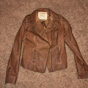 Brown Leather Jacket with Beautiful Stitching